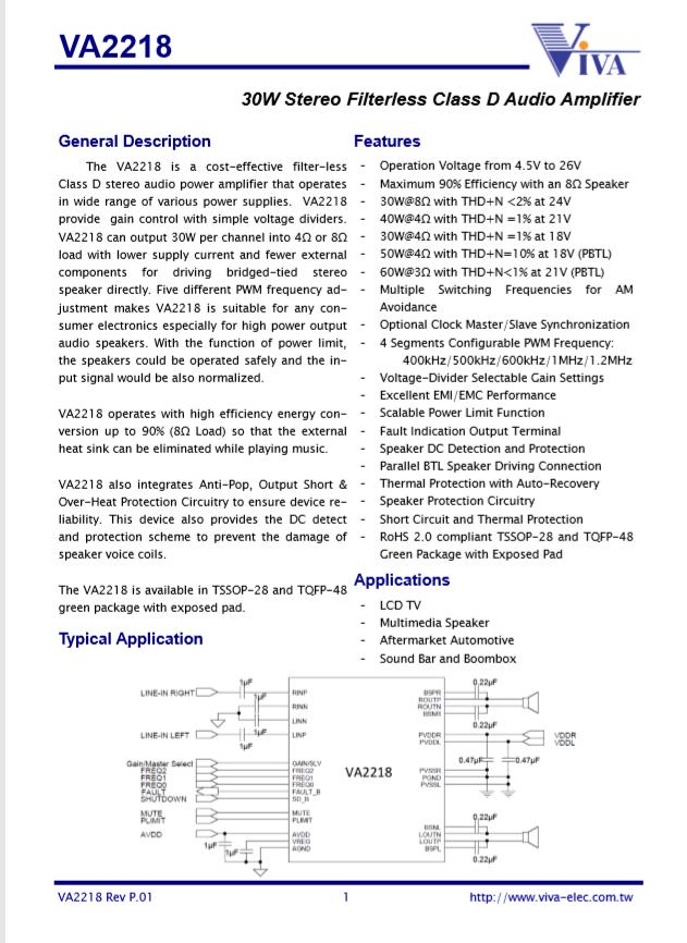 VA2218 VIVA  2*30W Filterless Stereo Class D Audio Amplifier
