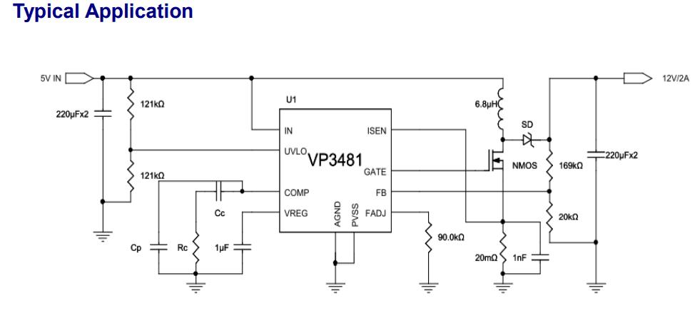 VIVA (昱盛电子) VP3481 High-Efficiency Boost/SEPIC DC/DC Controller
